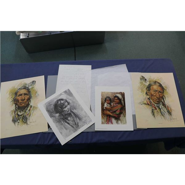 "Harley Brown folio with four unframed limited edition prints including ""Turning Robe"" and ""Sitting E"