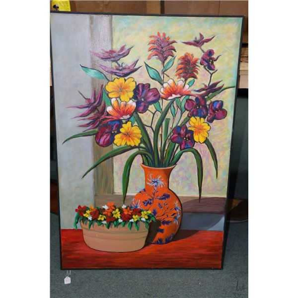 "Acrylic on canvas still life floral painting signed by artist Alf Hoppe, 36"" X 24"". Note: Not availa"