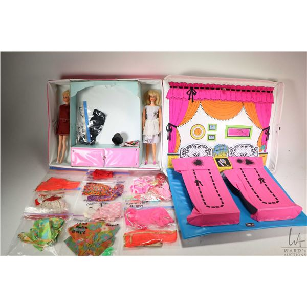 Two vintage Barbie dolls in vintage Barbie and P.J. Sleep n' Keep Case and a selection of vintage Ba