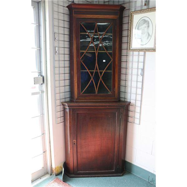 """Antique single door corner cabinet with mismatched single door display topper corner cabinet, 84"""" to"""