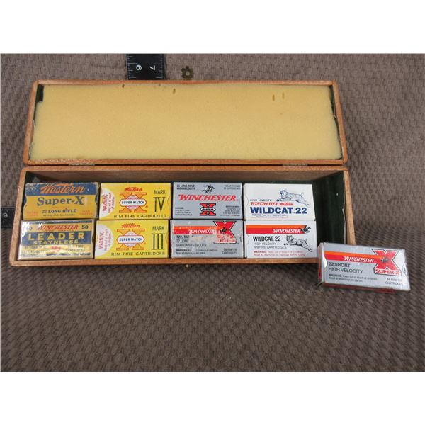Collector Winchester 22 Shells 9 boxes of 50 - Wood box does not go with shells