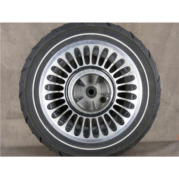 Used 180/65B16 M/C 81H Dunlop D407 Harley Davidson Front Tire on Harley Davidson Wheel T16X5.00 MT