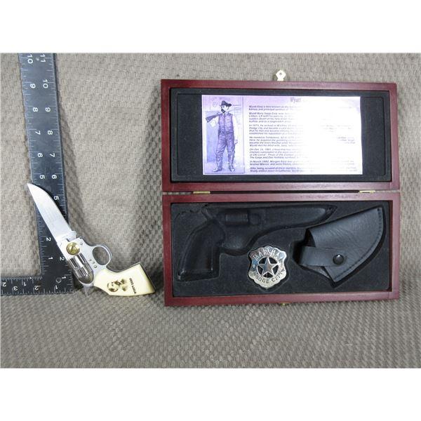 Wyatt Earp Pistol Style Knife - Badge - Sheath - Case Set