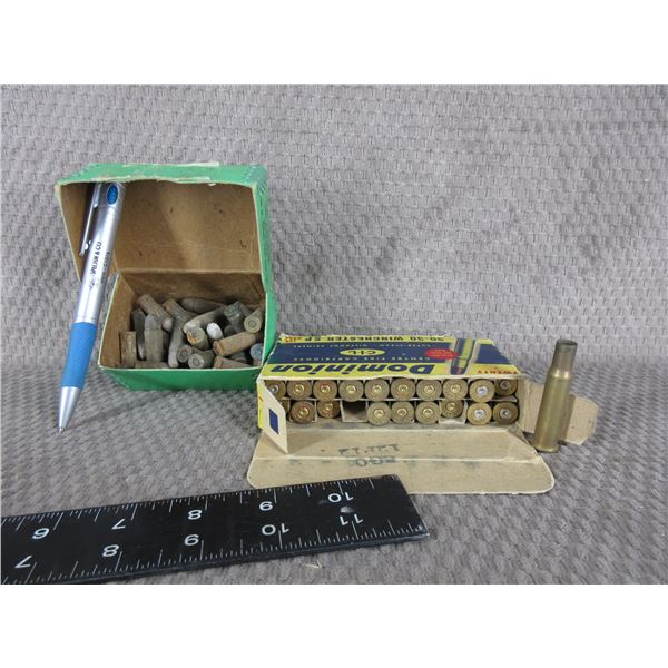 Box 30-30 Brass and Box of Various Pistol Cartridges