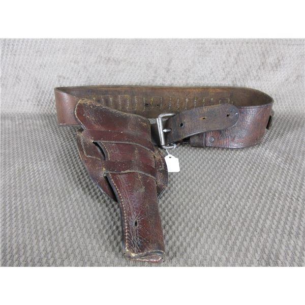 Vintage 44 or 45 Caliber Leather Holster with Belt