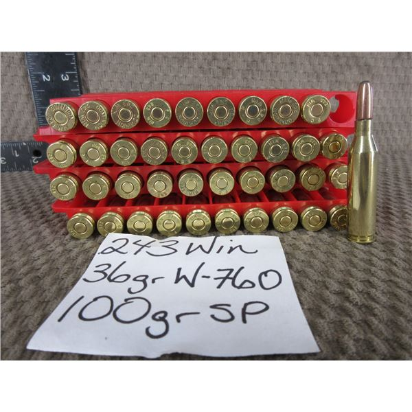 243 Winchewster 40 Rnds - Reloads sold as componets