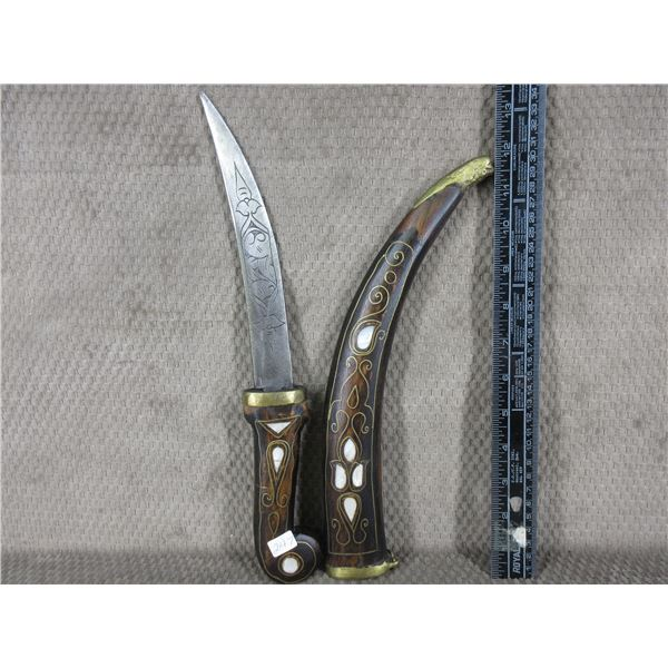 Kirpan Type Knife - Wood Sheath with Mother of Pearl