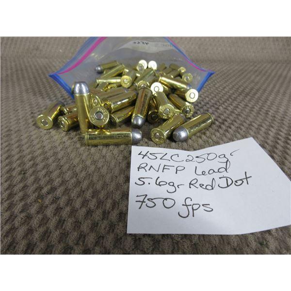 45 Long Colt - Bag of 50 Rnds - Reloads sold as componets