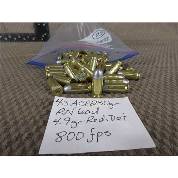 45 ACP - Bag of 50 Rnds - Reloads sold as componets