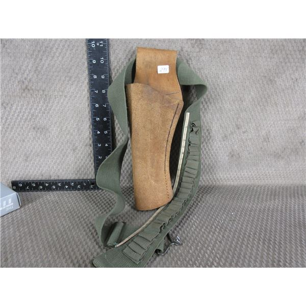 Left Hand Holster Suede Leather and Cloth Belt