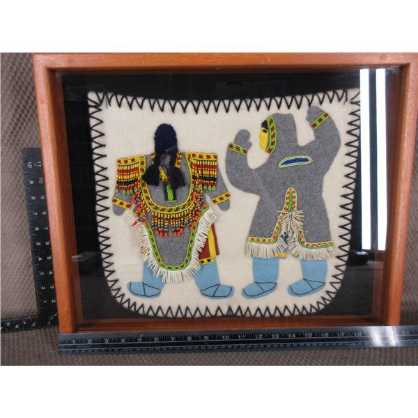 Original Inuet Folk Art Needle Work in Shadow Box