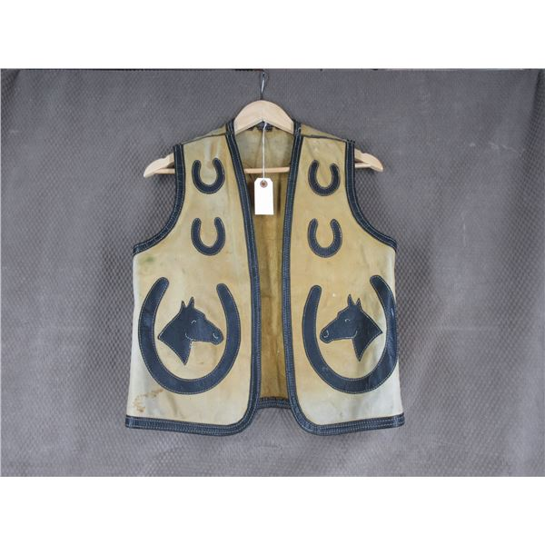 Highly Decorated Vintage Cowboy's Leather Vest 1950's