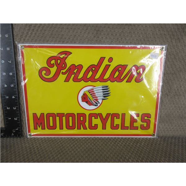 """New - Indian Motorcycles Porcelion Sign 12"""" X 8 1/4"""""""
