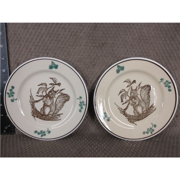 Mountain Trails Western Canadian Art - 2 Squirrel Side Plates