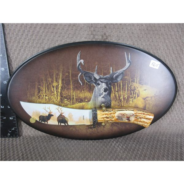 Wall Mounted Knife with Picture Elk on Blade