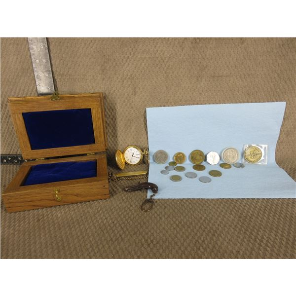 Wood Box with Coins, Watch & Gun Key Ring