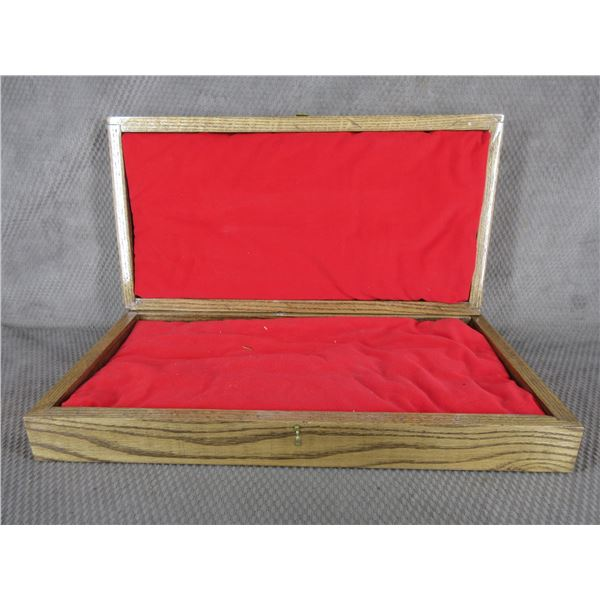 """Oak Wood Box 21"""" X 10 3/4"""" X 3 1/2"""" Missing Hardware"""