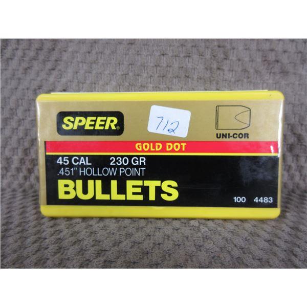 Speer 45 Cal 230 Gr .451 HP - Box 100 Unopened