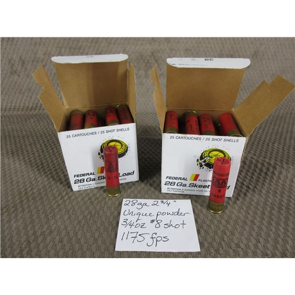 """28 Ga 2 3/4"""" 2 Boxes of 25 - Reloads sold as componets"""