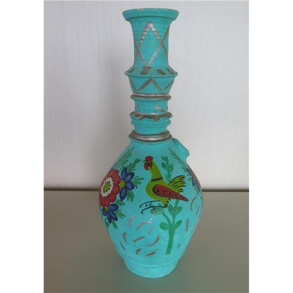 "Blue Painted Ceramic Vessel w/ Birds & Flowers 15""H"
