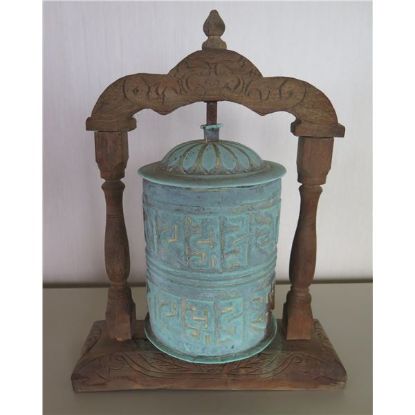 """Vintage Cylinder w/ Carved Wooden Stand 14""""H"""