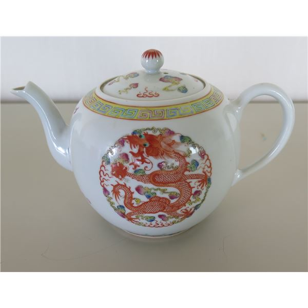 "Asian Teapot w/ Dragon Design & Lid 6""H"