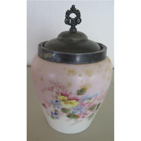 White Floral Tapered Jar w/ Metal Lid 9 H