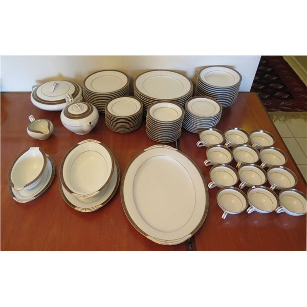 Noritake Japan China 'Regent' 5681 Fine China Set w/ Plates, Cups, Serveware, etc