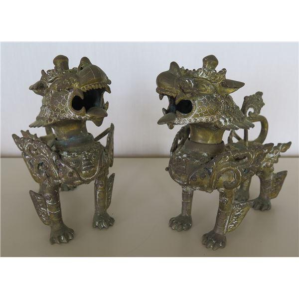 "Qty 2 Metal Foo Dogs Guardian Lions 7""Lx8.5""H"