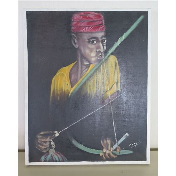 "Original Oil on Canvas, Man w Red Turban, Signed by Artist 17""x21"""