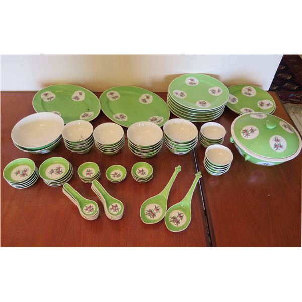 Asian China Set w/ Floral Design & Maker's Mark: Plates, Rice Bowls, Spoons, etc