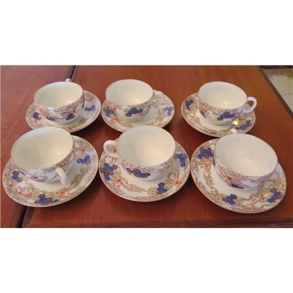 Qty 6 Porcelain Teacups & Saucers w/ Floral & Bird Design & Maker's Mark