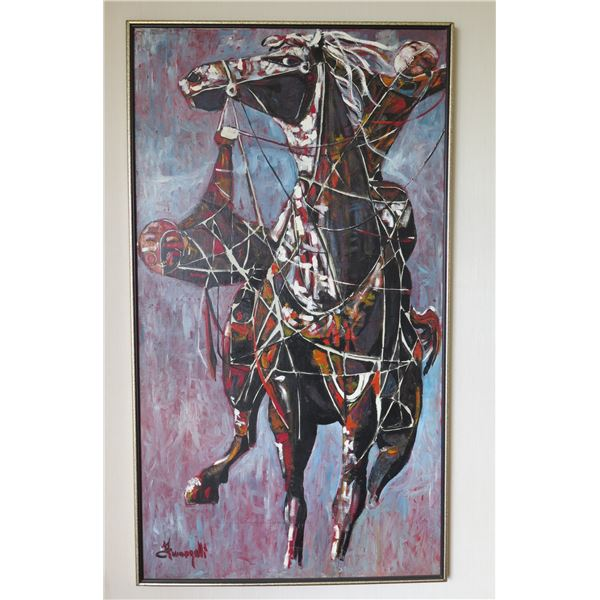"Large Original Painting on Canvas, Horse, Signed Fumagalli Framed 54""x20"""