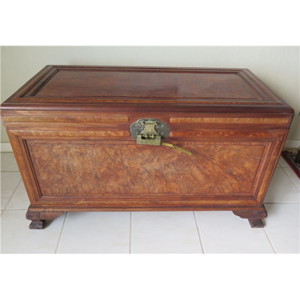 Footed Wooden Chest w/ Brass Hardware 39 x19 x23 H