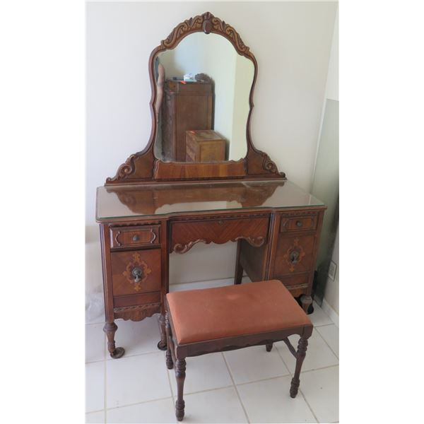 """Wooden Vanity Table w/ 4 Drawers, Attached Mirror & Bench Seat 46""""x19""""x32"""""""