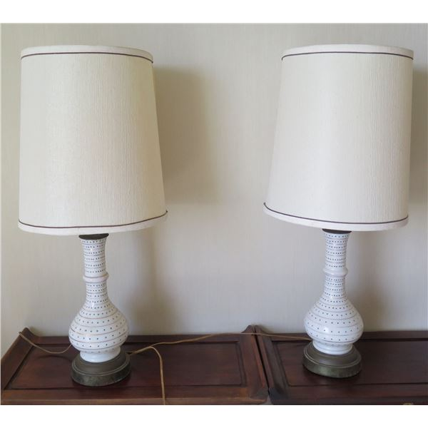 "Qty 2 White Dotted Lamps w/ Shade 33""H"