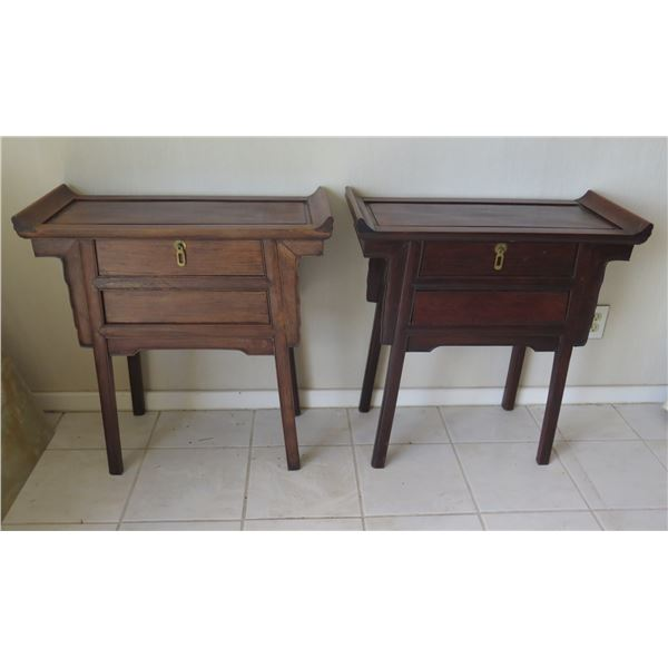 "Qty 2 Wooden Accent Tables w/ Curved Ends & 2 Drawers 28""x13""x28""H"
