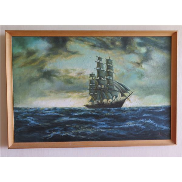 Framed Original Painting, Clipper Sailing Ship, Signed by Artist E. Hozier (?) 38 x26
