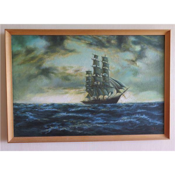 "Framed Original Painting, Clipper Sailing Ship, Signed by Artist E. Hozier (?) 38""x26"""