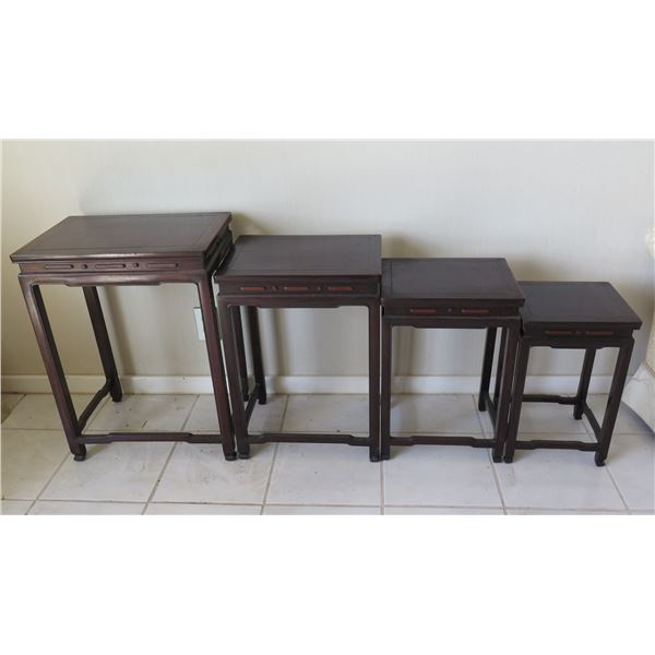 "Qty 4 Wooden Nesting Tables - Largest 19""x14""x25""H"