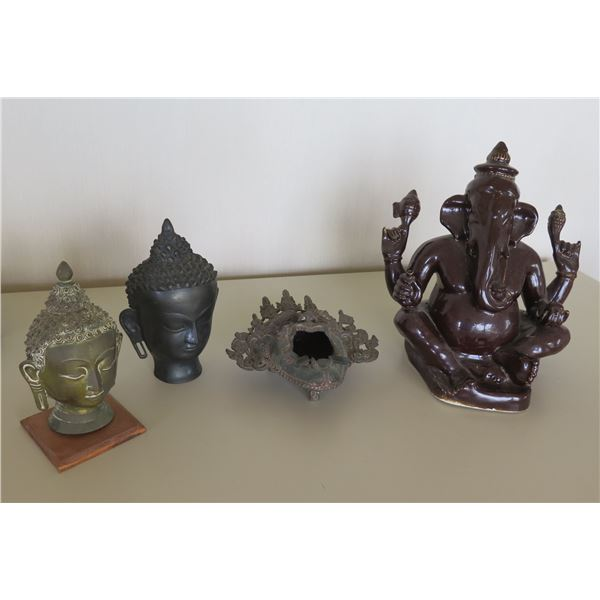 Qty 4 Vintage Buddha Figures: 2 Metal Heads, Black Head & Elephant