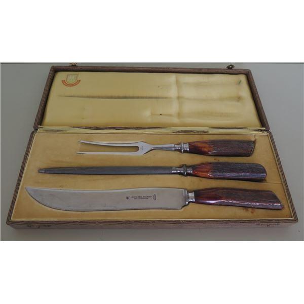 """J.A. Henkels.Solingen Zwillingswerk Nicht Rostend Carving Knife Set in Case 15""""L"""