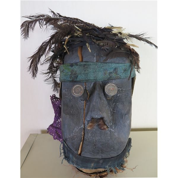 "Wooden Blue Wooden Mask Sculpture w/ Feather Hair 9""x17"""