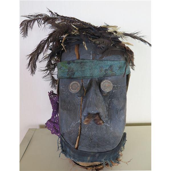 "Wooden Blue Wooden Mask Sculpture w/ Feather Hair 9""x17"""