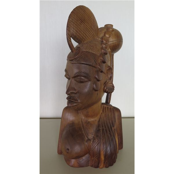 Carved Wooden Tribal Figure of Woman, Bust, Signed by Artist 20 H
