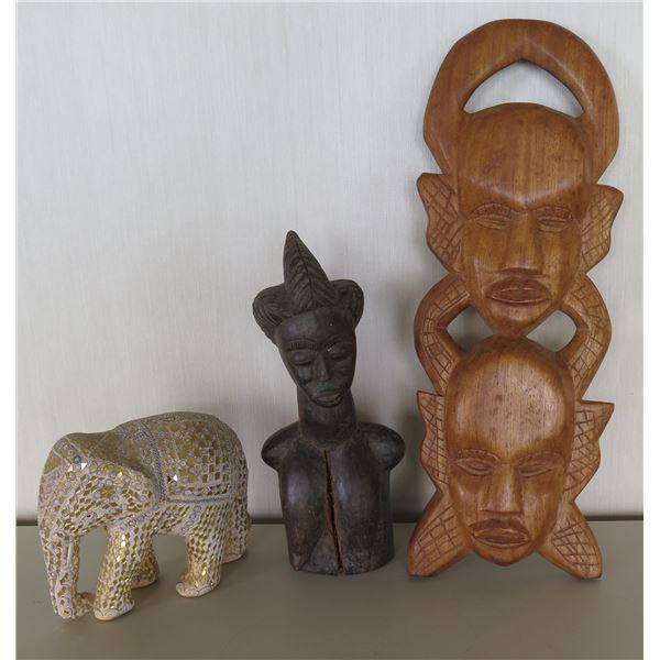 Qty 2 Carved Wooden Masks & Elephant Figure - Largest 20 H