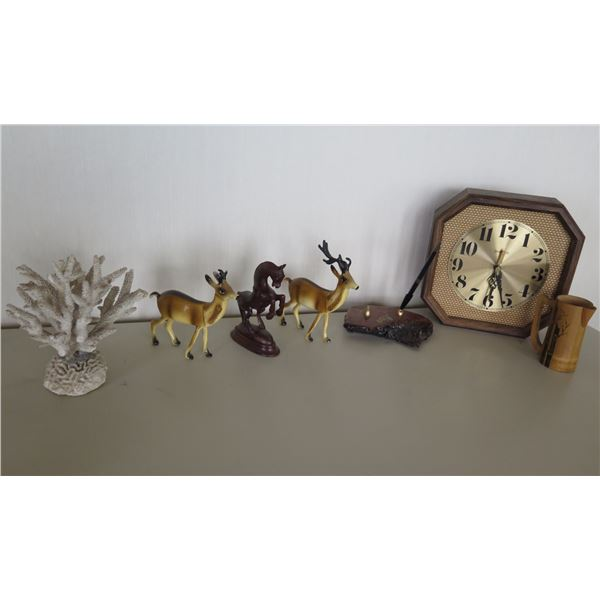 Coral on Stand, Spartus Clock, Pen in Holder & 3 Figurines: 2 Deer & Horse