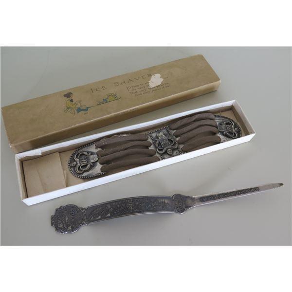 Antique 40th Anniversary 1879-1919 Geo H Tyson Letter Opener & Ice Shaver