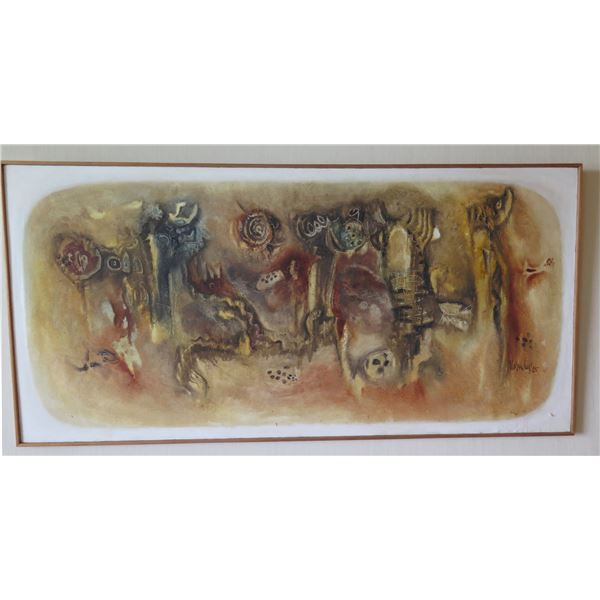 "Very Large Abstract Art, Signed Vamdey 85 (?) in Wood Frame 36"" x 73"""