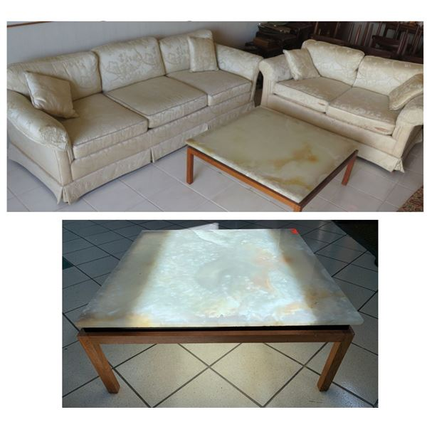 "Sofa & Matching Love Seat w/ Stone-Top Coffee Table & Throw Cushions 87"" & 58""L"